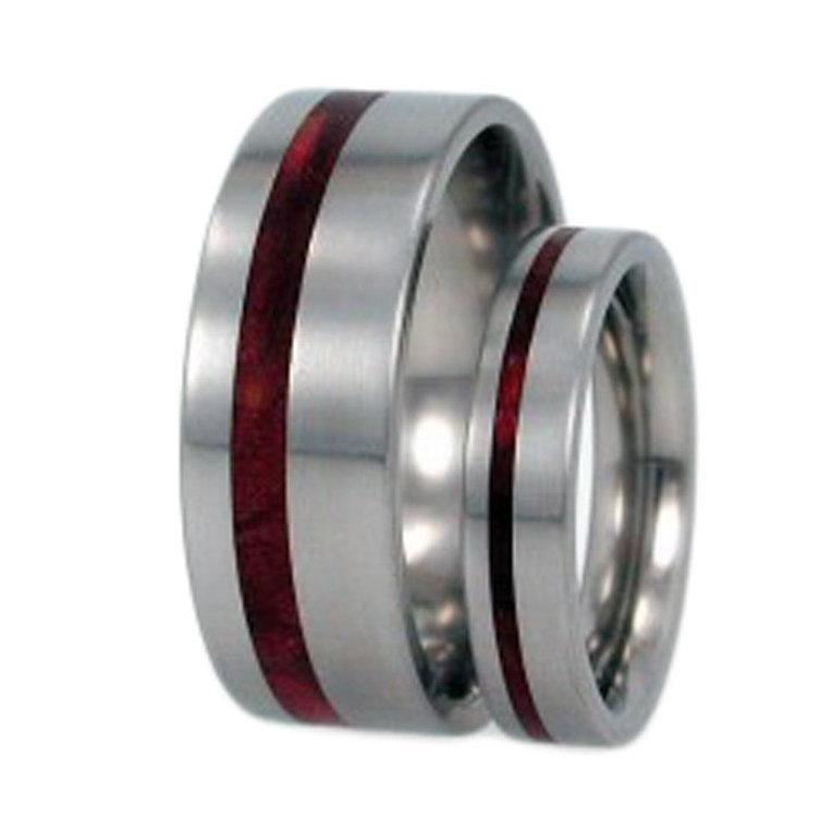 Redwood Wood Titanium Rings Titanium Wedding Band Set His And Hers