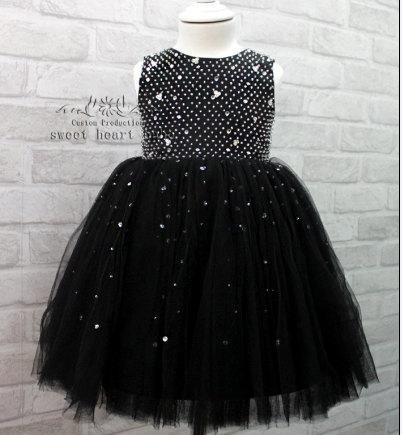 Wedding - Flower Girl Dress -Black flower girl dress with beading-Christening dress - Baby Dress -tulle Flower girl Dress -birthday party dress