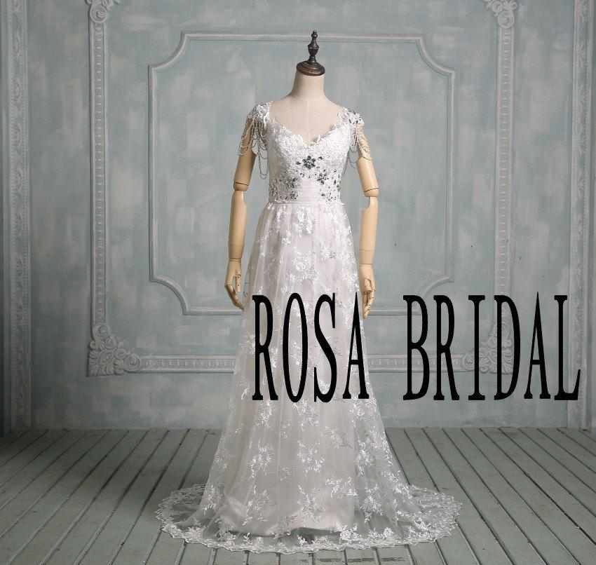 Wedding - Beach wedding dress lace, Vintage bridal dress. Ivory wedding dress lace, Rhinestone wedding dress beading Custom sIze