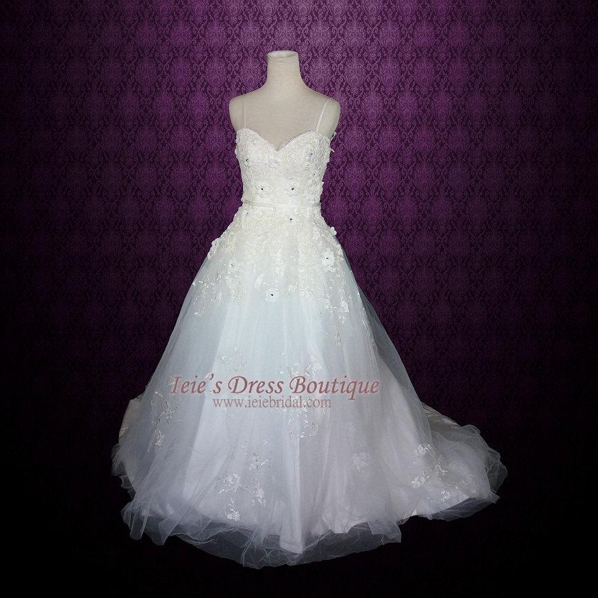 Wedding - Princess A-line Tulle Wedding Dress with Floral Lace Applique and thin straps