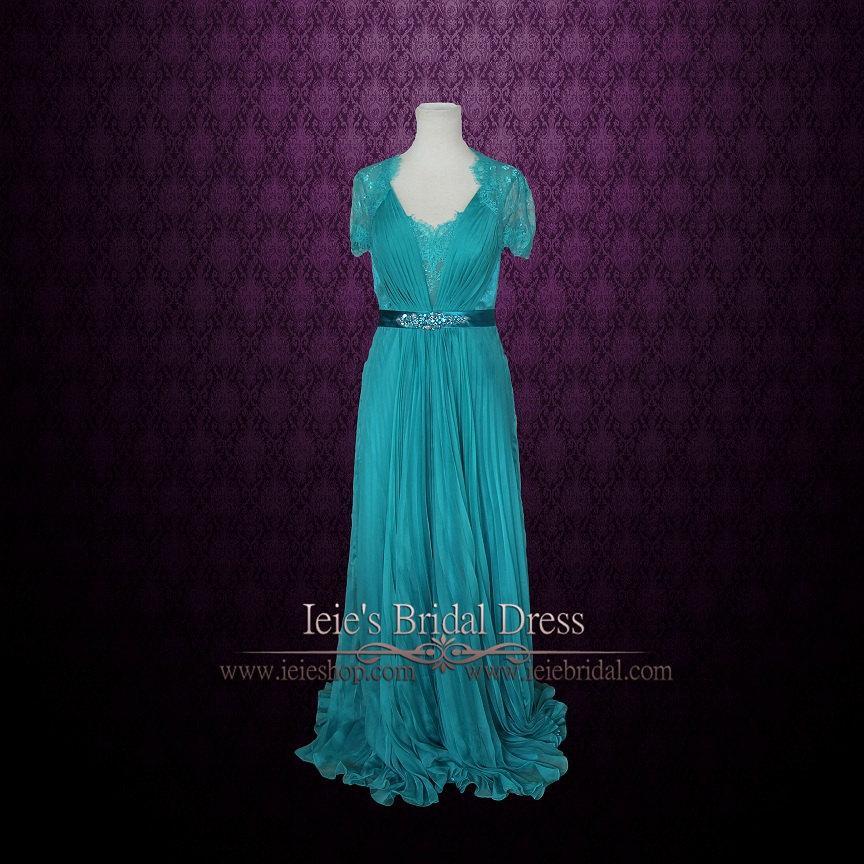 زفاف - Teal Grecian Lace V neck Formal Prom Evening Dress with Sleeves