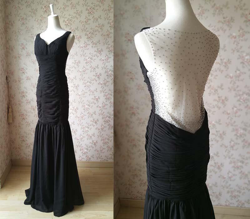 زفاف - Black Prom Dress. Women Mermaid Prom Dress. Floor Length Evening Dress. Open Back Wedding Dress. Women Gowns. Elegant Mermaid Dress(BD09)