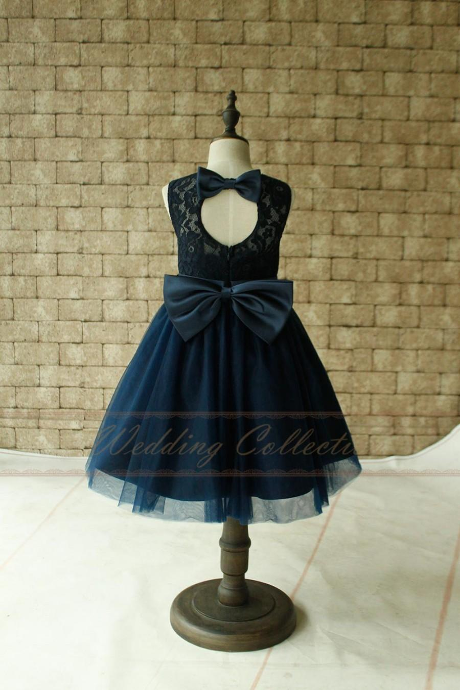 Mariage - Navy Lace Flower Girl Dresses, Tulle Flower Girls Dress With Navy Sash and Bow
