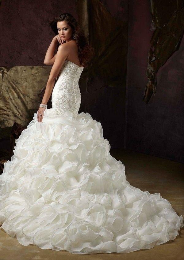 Wedding - Elegant Mermaid Sweetheart Beaded Organza Chapel Wedding Dress