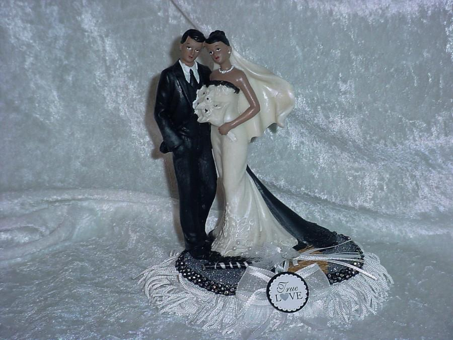 African American Couple Ethnic Mr And Mrs Black Bride Groom AA Wedding Cake Topper Jumping Broom White True Love
