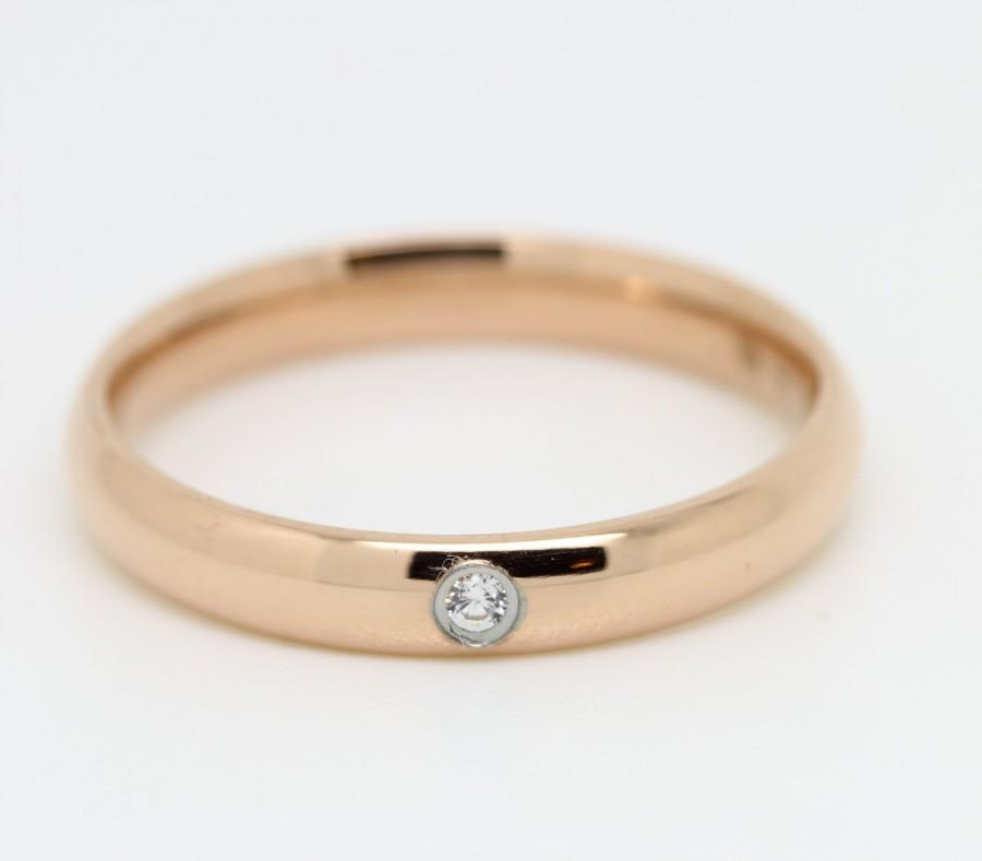 Wedding - Comfort Fit 3mm Wide, 18ct Rose Gold filled Plain band Wedding Ring with white sapphire gemstone