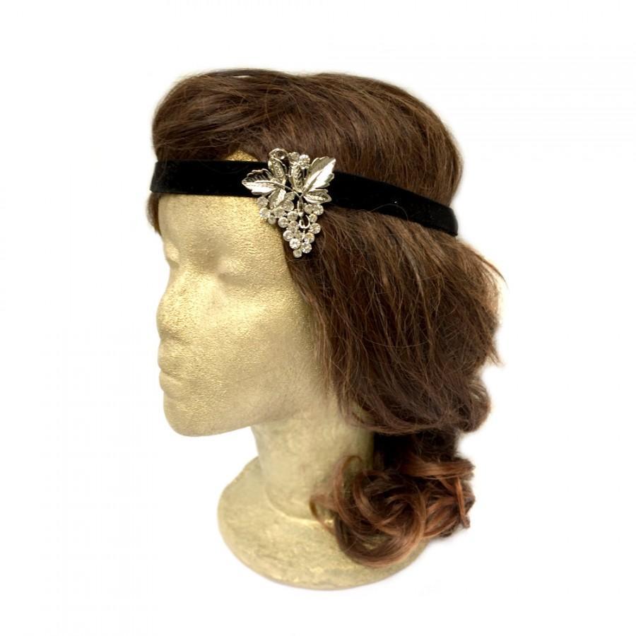 زفاف - Grapes Headband Winery Wedding Black Flapper Headpiece Winery Bachelorette Rhinestone Headband Grape Jewelry 1920s Headband Costume Hair