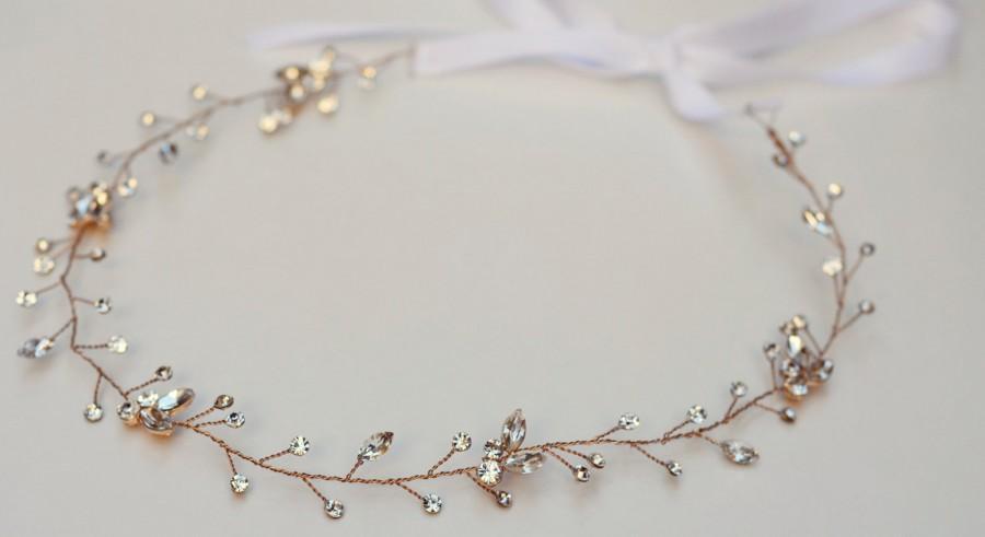 زفاف - The Brooklyn - Gold (or Silver) Twined Rhinestone Encrusted Bridal Headband Wreath White Ribbon Crown Wedding Bride Crystals Boho headpiece