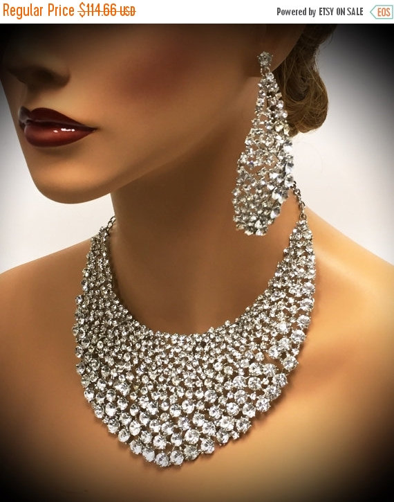 Bridal Jewelry Set Wedding Jewelry Bib Necklace Earrings Chunky