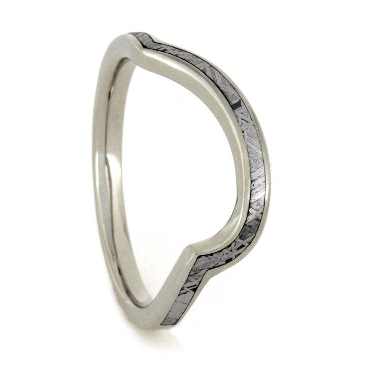 Wedding - Custom Wedding Band Featuring an 18k White Gold Ring with Partial Meteorite Inlay, Personalized Wedding Band