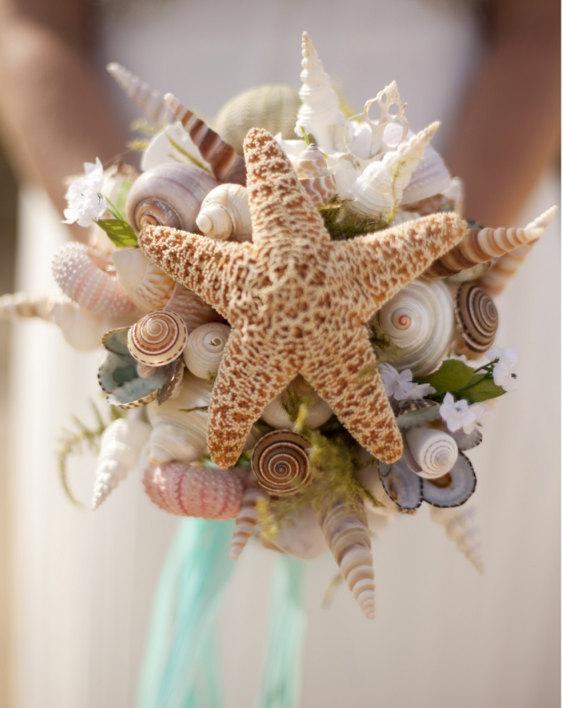 Hochzeit - Wedding Seashell Small  Bouquet for Bride or Bridesmaids Sea Shells Starfish