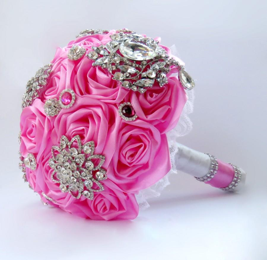 Hot pink and white satin ribbon floral bridal wedding bouquet with hot pink and white satin ribbon floral bridal wedding bouquet with brooches lace and pearls flowers kanzashi roses rhinestone buttons izmirmasajfo