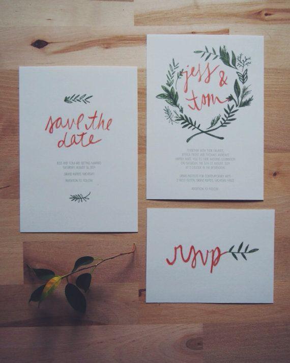 Wedding - Floral Wreath Bohemian Wedding Invitation // THE OLIVE // Olive Green And Orange Hand Drawn Woodland Leaf Wreath // DEPOSIT