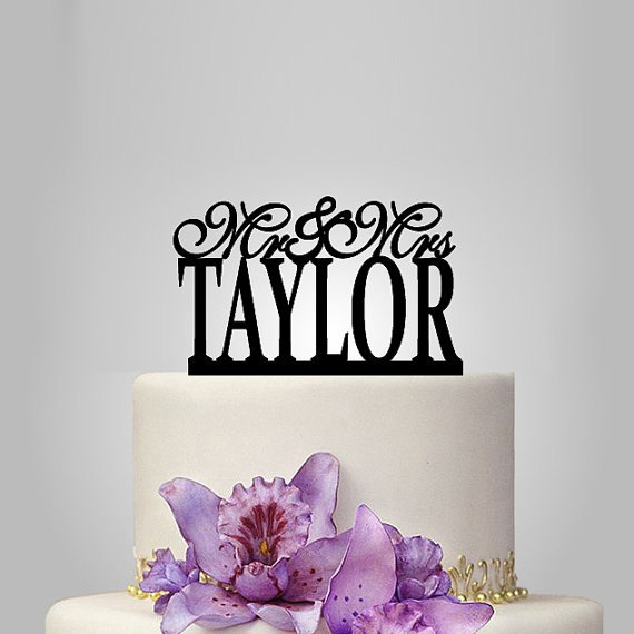 Mariage - personalize wedding cake topper,funny Wedding Cake Topper, Elegant Wedding Cake Topper, unique wedding cake toppers custom date