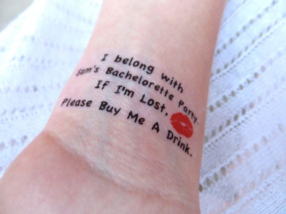 20 bachelorette party sorority party temporary tattoo for Bachelorette party tattoos