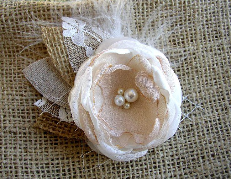 Свадьба - Rustic Bridal Hair Accessory - Burlap Hair Flower - Satin Burlap Hairpiece  - Burlap Lace Wedding - Small Hair Clip - Flower Girl Hair Clip