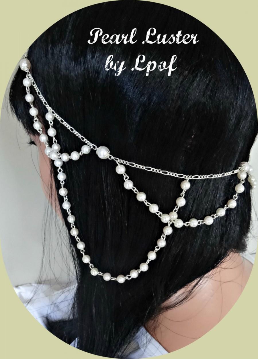 Свадьба - Weddings Bridal Accessories Hair Accessory Boho Wedding Head Jewelry Chain Headpiece Pearl Head Piece Beach Wedding - Pearl Luster Silver
