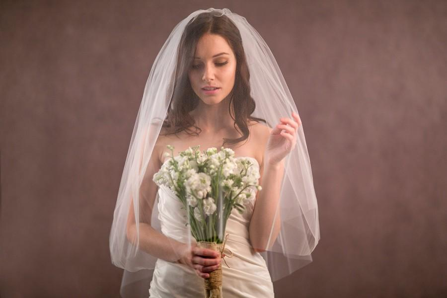 Свадьба - Two tier blusher wedding veil in elbow, fingertip, waltz, chapel and cathedral length, tulle veil, ivory veil