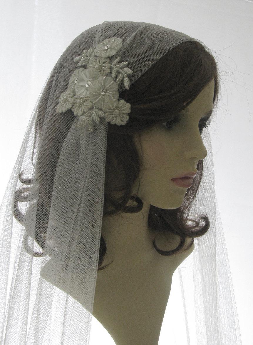 زفاف - 1920s style wedding  veil -  couture bridal cap veil - cap veil with blusher -  Summer