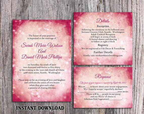 DIY Rustic Wedding Invitation Template Set Editable Word File – Pink and Red Wedding Invitations