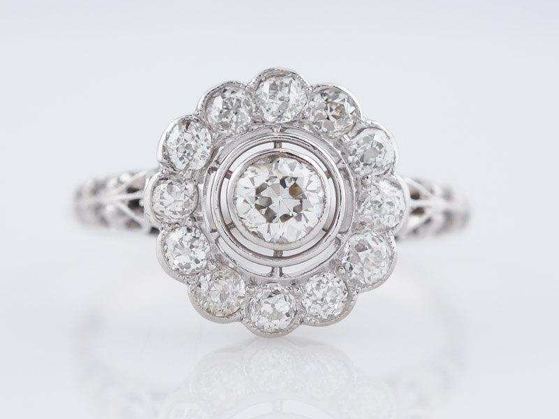 زفاف - Antique Engagement Ring Art Deco 1.09cttw Old European Cut Diamond in Platinum