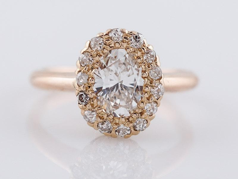Свадьба - Antique Engagement Ring Victorian .72ct Oval Cut Diamond in 14k Yellow Gold