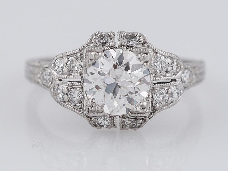 زفاف - Antique Engagement Ring Art Deco GIA .93ct Old European Cut Diamond in Platinum