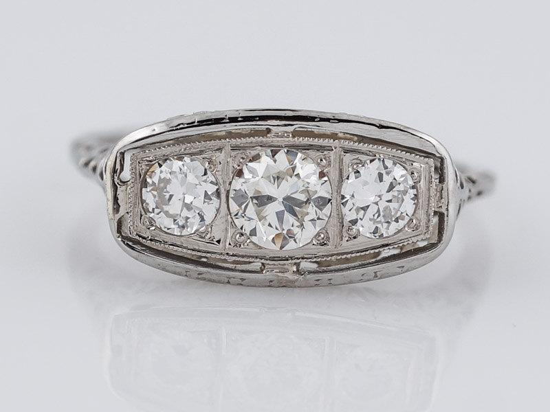 زفاف - 1930's Engagement Ring Art Deco .64cttw Old European Cut Diamonds in Vintage 18k White Gold