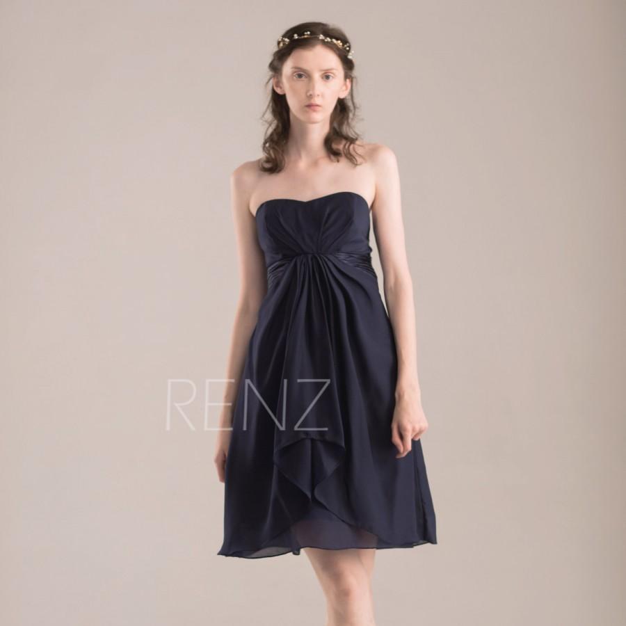 Свадьба - 2016 Navy Blue Bridesmaid dress, Short Wedding dress, Sweetheart Elegant Prom dress, Backless Party dress, Evening gown tea length (T083)