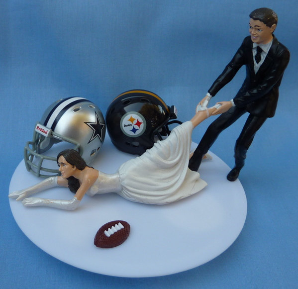 Wedding Cake Topper House Divided Football Team Rivalry Themed You Pick Your Two Teams W Bridal Garter Humorous Sports Fan Fun Unique Top