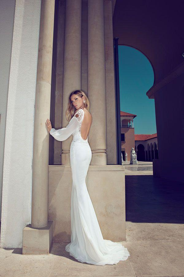 Düğün - Floor-Length Chapel Train Lace And Chiffon Sexy Open Back Full Sleeves Wedding Dress