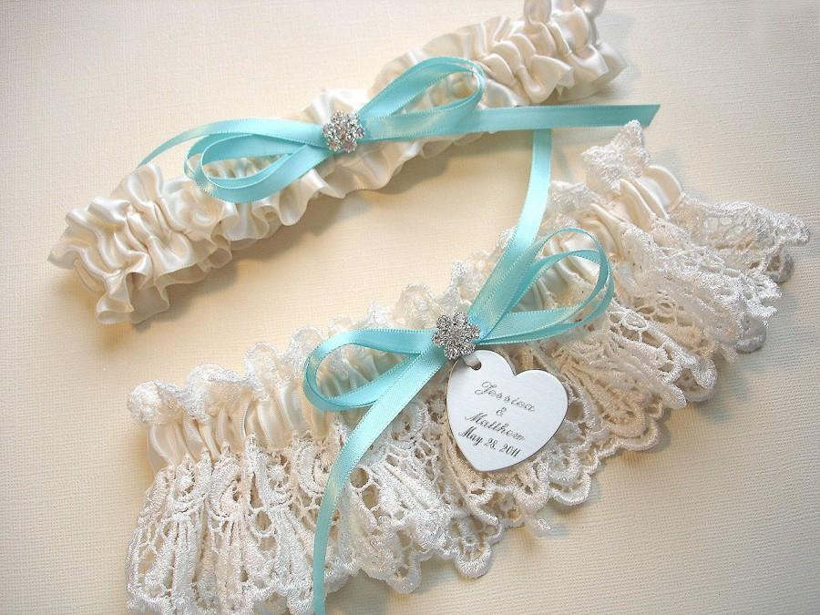 Mariage - Garters, Aqua / Robin's Egg Blue Personalized Wedding Garter Set in Ivory Venise Lace with Engraving, a Bow and Rhinestones