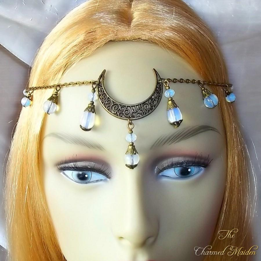 Boda - Opalite Moon Circlet, Moon Headpiece, Headdress, Moon Goddess, Bronze Headpiece, Pagan, Wiccan, Wicca, Festival, Handfasting, Head Jewellery