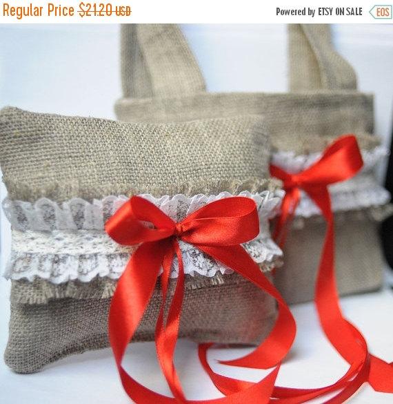 Свадьба - ON SALE Wedding Bag basket pillow ring Flower Girl bag Wedding pillow ring