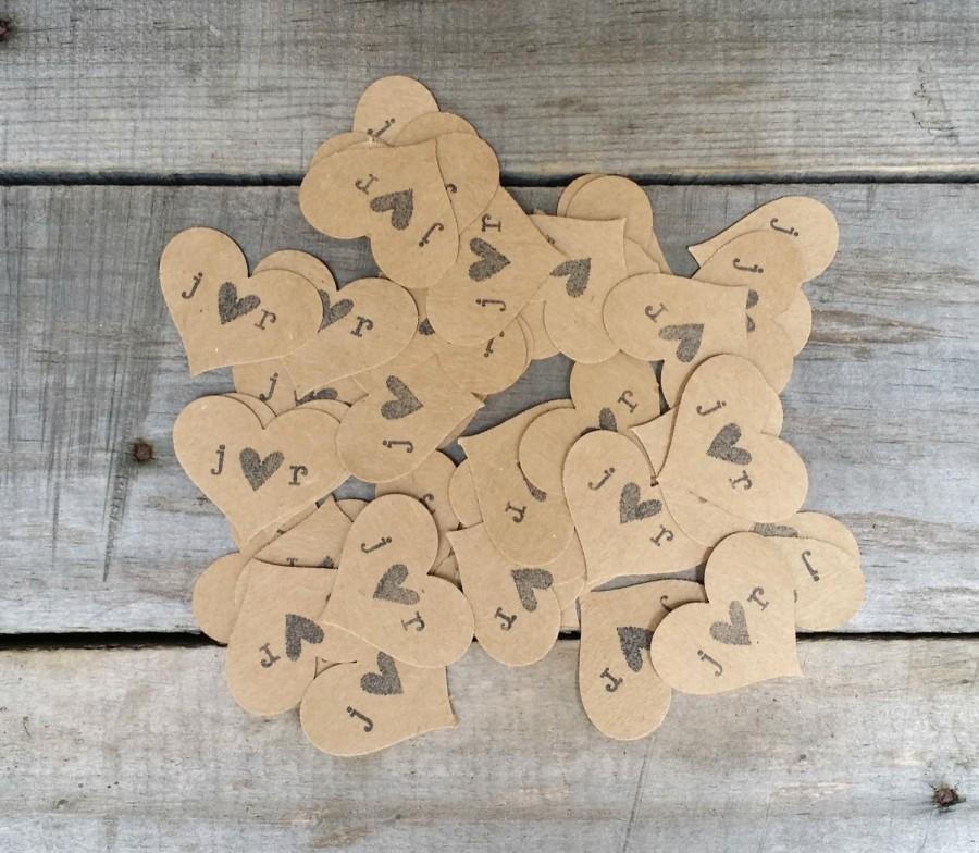 Свадьба - Kraft Heart Confetti, Paper Confetti, Rustic Wedding Decor, Flower Girl Confetti, Personalized Confetti, 100 Pieces