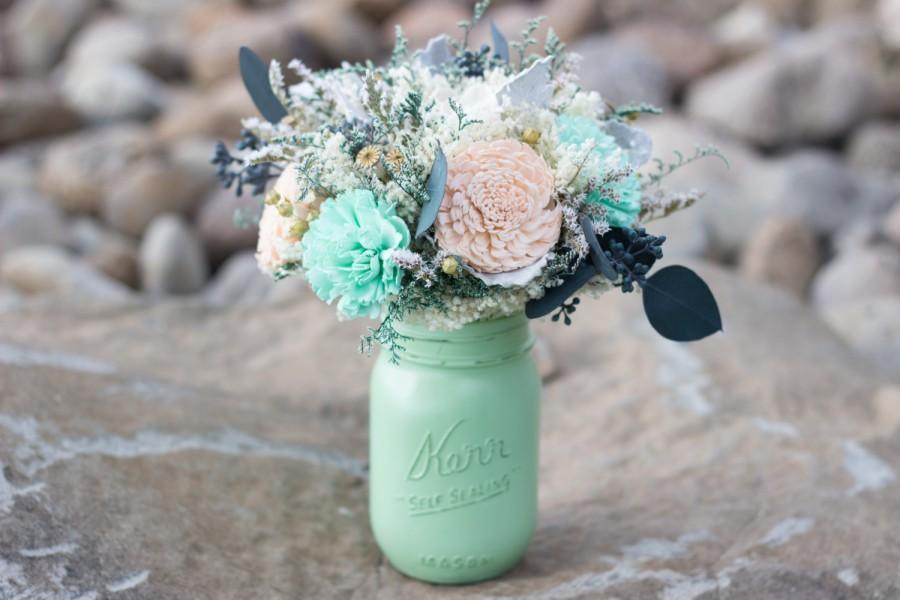 Wedding Centerpiece Mint Peach Sola Flower Centerpiece