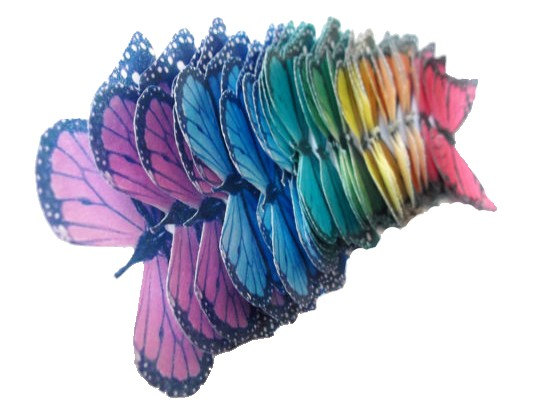 Hochzeit - Monarch Rainbow -  Edible Butterflies in a small set of monarchs - Cake Decorations Cupcake Toppers