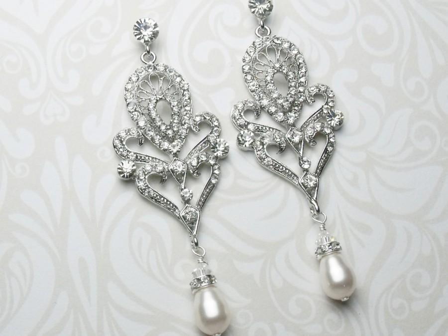 Art Deco Style Chandelier Earrings Pearl Drop Vintage Statement Bridal Crystal Starlet