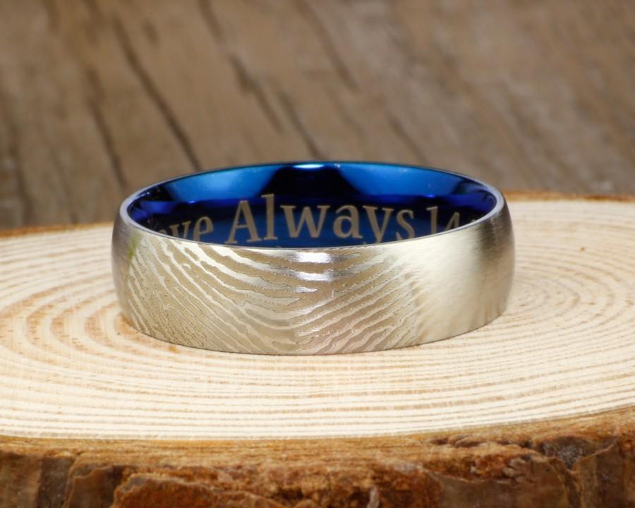 زفاف - Your Actual Finger Print Rings, Handmade Men Dome RINGS - Two Tone Blue Titanium Rings 7mm
