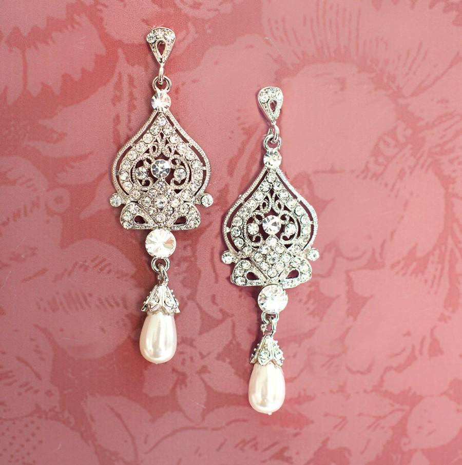 زفاف - 1920s Earrings, Bridal Pearl Earrings, Pearl Chandelier Earrings, Downton Abbey Earrings, Vintage Inspired, Hollywood Earrings  - 'ALISA'
