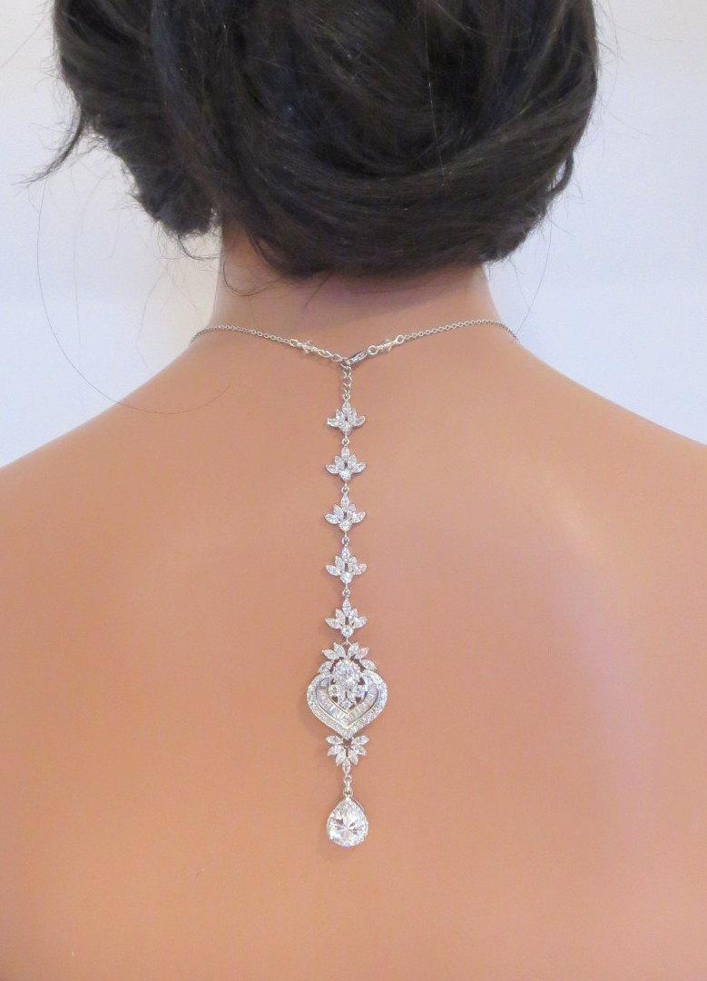 زفاف - Backdrop Bridal necklace, Wedding Backdrop necklace, Bridal jewelry, Crystal necklace, Rhinestone backdrop necklace, Statement necklace EMMA