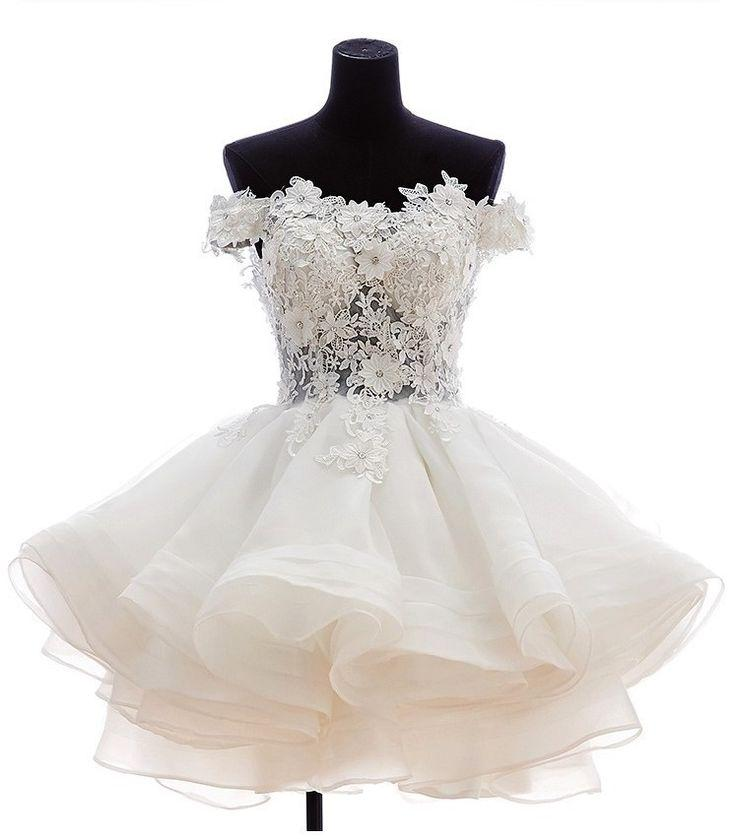 Hochzeit - White Short Lace Off The Shoulder Organza Wedding Dress