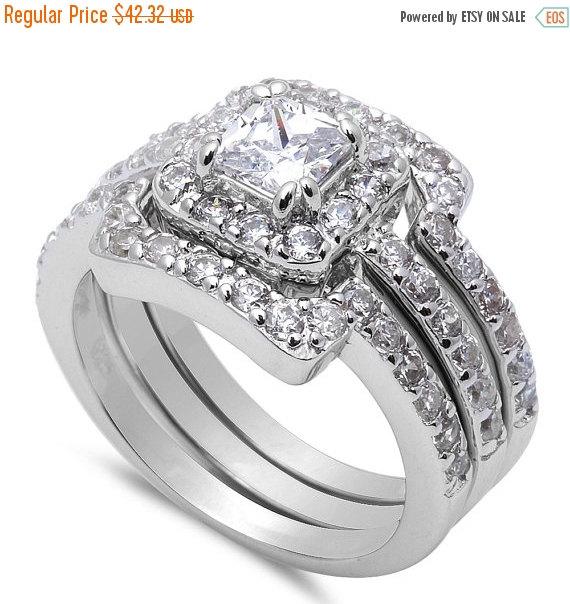Wedding - Wedding Engagement Anniversary Ring Trio Set Solid 925 Sterling Silver 0.40 Carat Princess Cut Square Round Diamond CZ Halo Three piece Ring