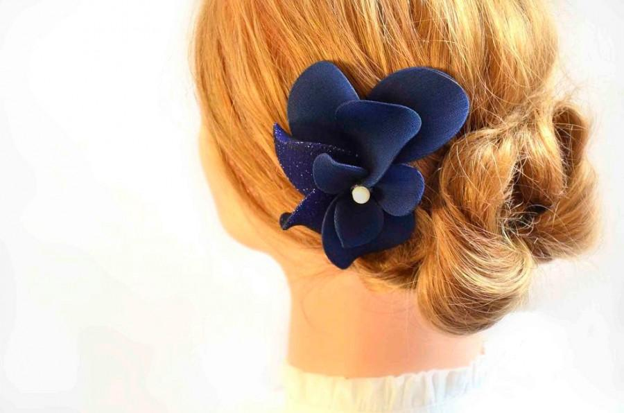 Navy blue headpiece Navy fascinator Bridal headpiece Ivory fascinator  Flower headpiece Wedding hair comb c45dc01b943