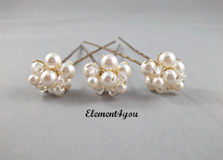 Свадьба - Wedding hair pins, bridal hair piece, headpiece, beaded pins, prom hair do, Swarovski pearls crystals pins, cluster pearls