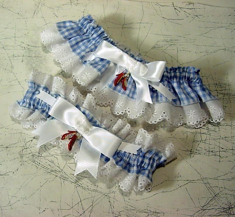 Wedding - wedding garter set the Original Ruby Slipper  Wizard of Oz wedding Keep  and  Toss  a Peterene Design