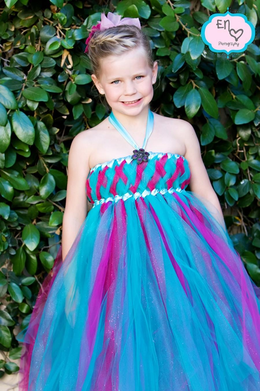 Teal And Rasberry Glitzy Glam Empire Tutu Dress, Flower Girl Dress ...