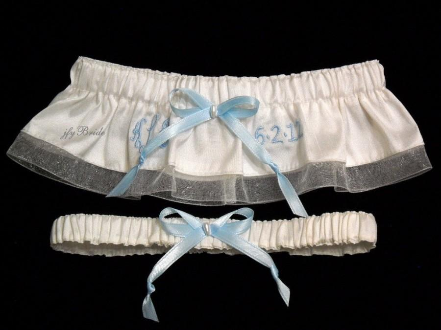 Свадьба - Personalized Garter Set fashioned of silk shantung with organza ribbon edge with monogram and wedding date