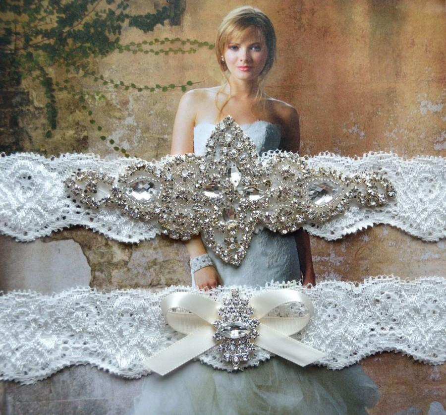 Wedding - SALE - Wedding Garter, Bridal Garter, Garter Set - Crystal Rhinestone & Pearls on a White Off  Lace - Style G 5300