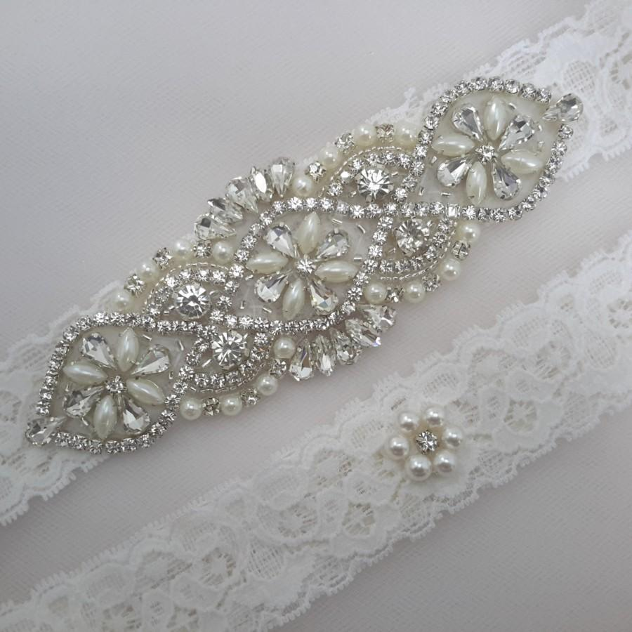 Bridal Garter Wedding Garter Set Garter Set Ivory Garter Rhinestone Garter Pearl Garter